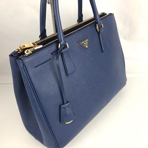 ba0dcffe3 Prada Bags | Italian Galleria Lux Bluette Double Zip Tote | Poshmark
